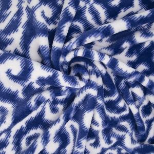 Ткань на отрез велсофт Вензель цвет василек