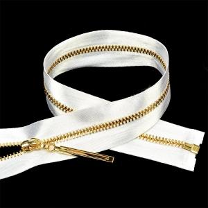 Молния мет №3 золото атласная тесьма 60 см цвет F101 белый