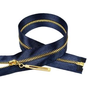 Молния мет №3 золото атласная тесьма 60 см цвет F330 синий