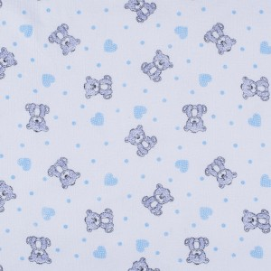 Ткань на отрез фланель б/з 90 см 7871/2  Мишка с сердечками