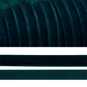 Лента бархатная 10 мм TBY LB1039 цвет т-зеленый 1 метр