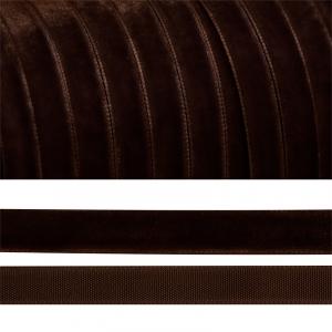 Лента бархатная 10 мм TBY LB1072 цвет коричневый 1 метр