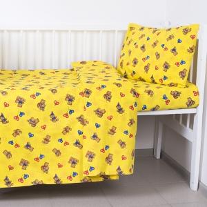Постельное белье в детскую кроватку из бязи 609/4-1 желтый ГОСТ