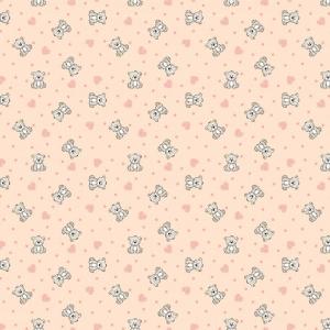 Фланель грунт 90 см 7870/1 Мишки с сердечками цвет персик