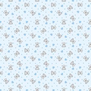 Фланель грунт 90 см 7870/2 Мишки с сердечками цвет голубой