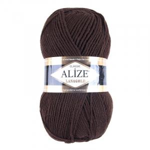 Пряжа для вязания Ализе LanaGold (49%шерсть, 51%акрил) 100гр цвет 26 коричневый