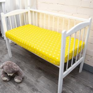 Простыня на резинке поплин детский 1733/6 цвет желтый 60/120/12 см