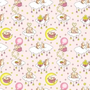 Ткань на отрез бязь 120 гр/м2 детская 150 см 1949/2 Мышки цвет розовый