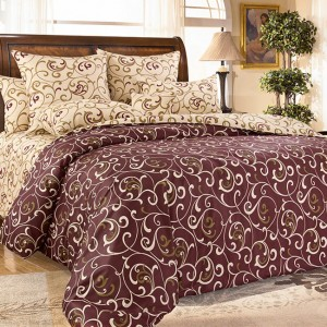 Ткань на отрез сатин набивной 220 см 196051 Вензель цвет коричневый