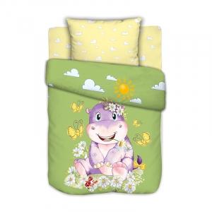 Постельное белье в детскую кроватку с простыней на резинке Бегемотик на полянке сатин