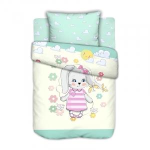 Постельное белье в детскую кроватку с простыней на резинке Зайка на полянке сатин
