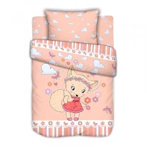 Постельное белье в детскую кроватку с простыней на резинке Лисичка на полянке сатин