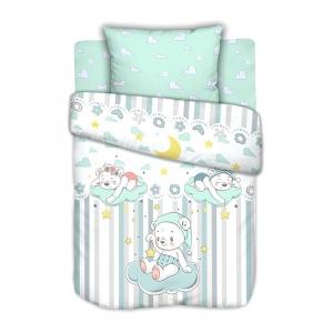 Постельное белье в детскую кроватку с простыней на резинке Сонные мишки на полянке сатин