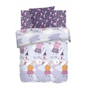 Детское постельное белье из хлопка 1.5 сп Свинка Пеппа (70*70) 8775+8776 вид 1 Пеппа Фея