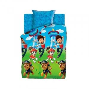 Детское постельное белье из сатина 1.5 сп Щенячий патруль (50х70) рис. 8785-1/8992-1 Райдер и щенки