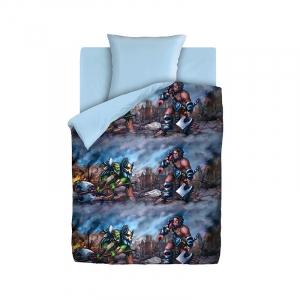 Детское постельное белье из хлопка 1.5 сп 4YOU Neon (70х70) рис. 8865-1/голубой- Орки