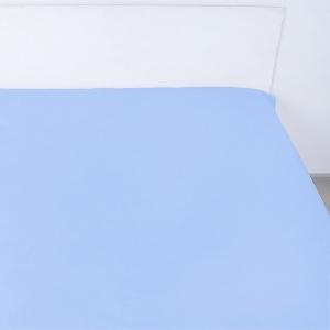 Простынь на резинке сатин цвет голубая лагуна 140/200/20 см