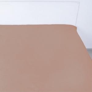Простынь на резинке сатин цвет коричневый 180/200/20 см