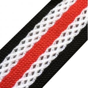 Лампасы №33 черные красная полосы с перфорацией 2,5см уп 10 м