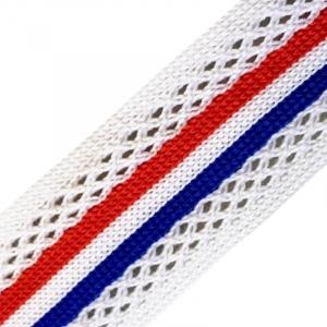 Лампасы №38 белые синяя красная полосы с перфорацией 2,5см уп 10 м
