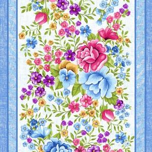 Ткань на отрез вафельное полотно 50 см 5618/1 Цветочная вышивка
