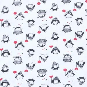 Ткань на отрез интерлок пенье Пингвины 73428-18