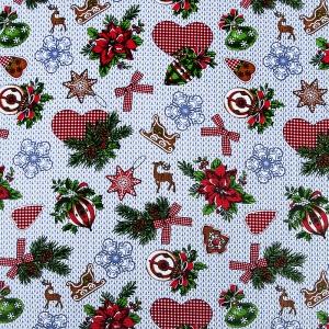 Ткань на отрез вафельное полотно набивное 150 см 1083/2 Новогодняя фантазия