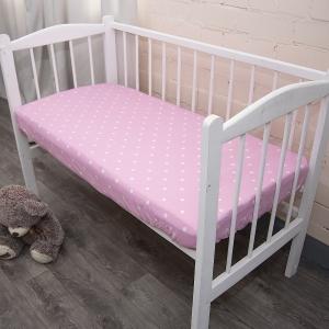 Простыня на резинке поплин детский 1740/4 цвет розовый 80/160/15 см