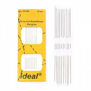 Иглы IDEAL 304 набор для вышивания бисером 0,45х80 мм уп. 10 игл
