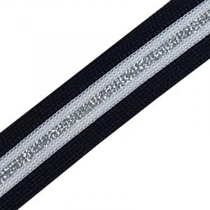 Лампасы №49 темно синий белый полоса серебро 2 см уп 10 м