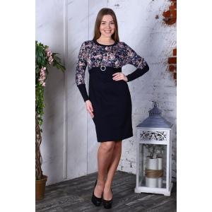 Платье Леся интерлок светло розовые цветы+синий Д411 р 56