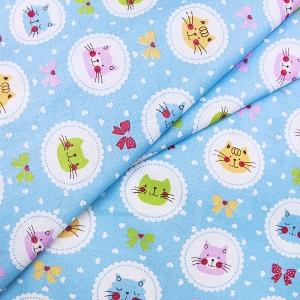 Ткань на отрез бязь ГОСТ Шуя детская 150 см 92222 Котики цвет голубой