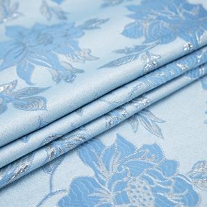 Портьерная ткань с люрексом 150 см на отрез H627 цвет 5 голубой цветы