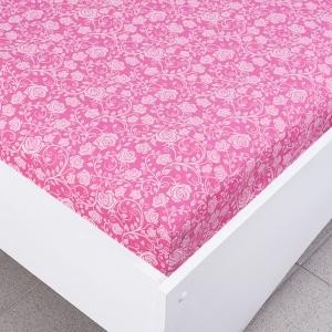 Простыня трикотажная на резинке цвет розы7 120/200/20 см