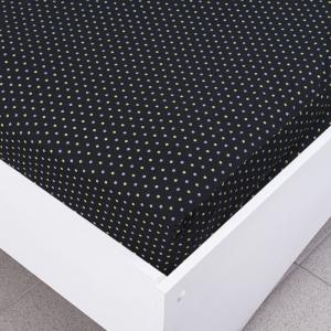 Простыня трикотажная на резинке цвет мелкий горох цвет черный 120/200/20 см