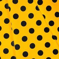 Ткань на отрез бязь плательная 150 см 1422/4 желтый фон черный горох