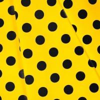 Ткань на отрез бязь плательная 150 см 1422/5 лимонный фон черный горох