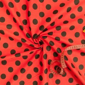 Ткань на отрез бязь плательная 150 см 1422/6 красный фон черный горох