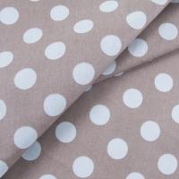Ткань на отрез бязь плательная 150 см 1422/8 коричневый фон белый горох