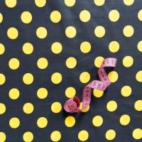 Ткань на отрез бязь плательная 150 см 1422/10 черный фон желтый горох