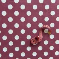 Ткань на отрез бязь плательная 150 см 1422/11 терракот фон белый горох