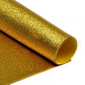 Фоамиран глиттерный 2 мм 20/30 см уп 10 шт MG.GLIT.H032 цвет золото