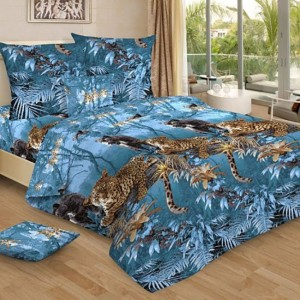 Бязь 120 гр/м2 220 см 4201/1 Пантеры цвет синий