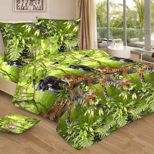 Бязь 120 гр/м2 220 см 4201/2 Пантеры цвет зеленый