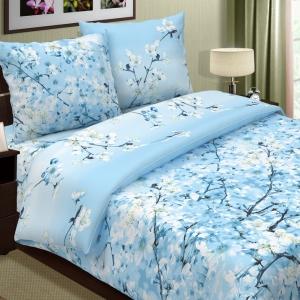 Ткань на отрез поплин 220 см 574-2 Сакура цвет голубой