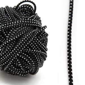 Резинка шляпная 0,25см черная с белыми вкраплениями 1 метр