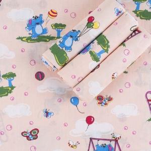 Набор детских пеленок бязь 4 шт 90/120 см 315/4 Слоники персик