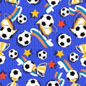 Вафельное полотно набивное 150 см 448/1 Футбол цвет синий