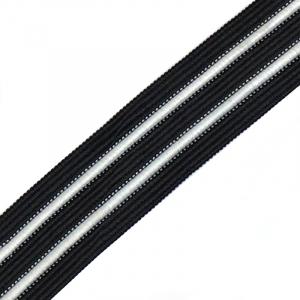 Лампасы №59 черные белые полосы 2,5см уп 10 м