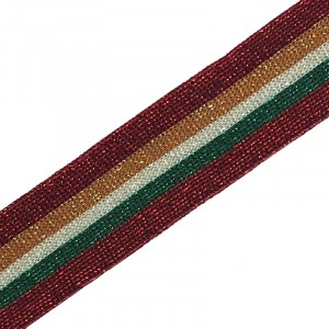 Лампасы №57 красная зеленая белая оранжевая красная с люриксом 3 см уп 10 м
